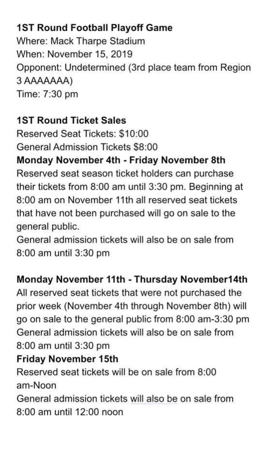 colquitt county football 2019 playoffs round 1 ticket info